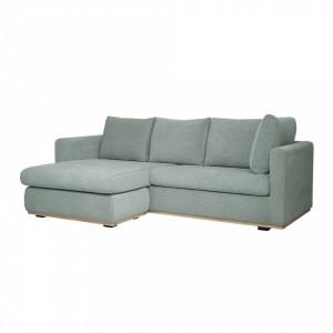 Canapea cu colt verde din poliester si lemn 231 cm Zane Bloomingville