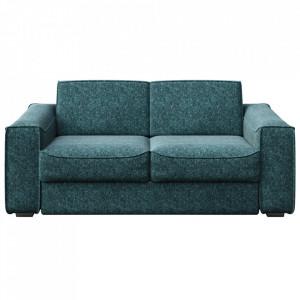 Canapea extensibila albastra din poliester si lemn pentru 2,5 persoane Munro Mesonica