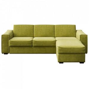 Canapea extensibila cu colt oliv din poliester si lemn pentru 4 persoane Munro Mesonica