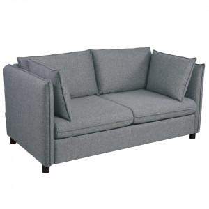 Canapea extensibila gri/bej din poliester si lemn pentru 2 persoane Enzo Mesonica