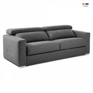 Canapea extensibila gri grafit din textil si metal 224 cm Queen Visco La Forma