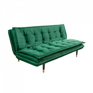 Canapea extensibila verde smarald din catifea si lemn 184 cm Magnifique Invicta Interior