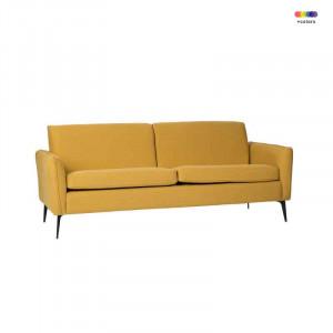 Canapea galbena din lemn de pin si poliester pentru 2 persoane New York Yellow Somcasa