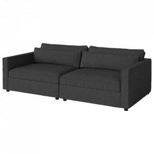 Canapea gri antracit din polister si lemn 242 cm Aya Bolia