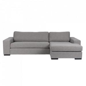 Canapea gri din poliester si lemn de pin cu colt pentru 2 persoane Fiep Right Grey Zuiver