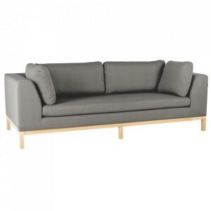 Canapea gri/maro din textil si lemn pentru 3 persoane Ambient Custom Form