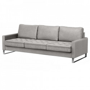 Canapea gri platinat din catifea si lemn pentru 3,5 persoane West Houston Riviera Maison
