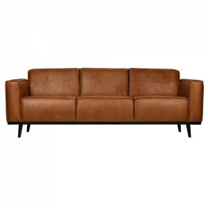 Canapea maro coniac/neagra din poliester si lemn pentru 3 persoane Statement Be Pure Home