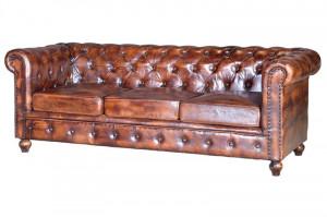 Canapea maro din lemn si piele pentru 3 persoane  Chester Giner y Colomer