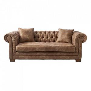 Canapea maro din piele si lemn pentru 3 persoane Crescent Riviera Maison