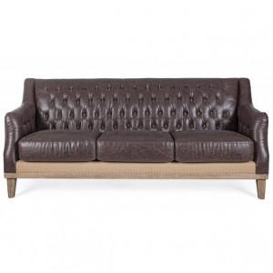 Canapea maro din piele si lemn pentru 3 persoane Raymond Bizzotto