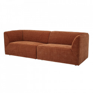 Canapea maro din poliester si lemn de pin 230 cm Petra Bloomingville
