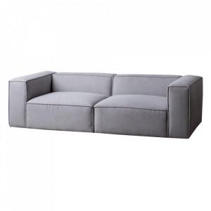 Canapea modulara gri deschis din poliester si placaj 240 cm Kram Ixia