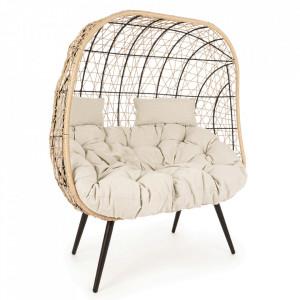 Canapea pentru exterior maro/neagra din fibre sintetice si otel 115 cm Marley Bizzotto