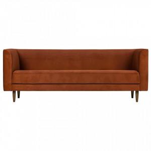 Canapea portocalie din catifea pentru 3 persoane Studio Rust Woood
