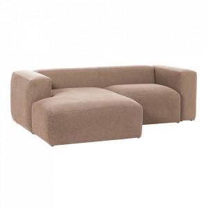 Canapea roz din fibre acrilice si lemn de pin cu colt pentru 2 persoane Blok Left La Forma