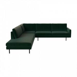 Canapea verde cu colt pentru 6 persoane din poliester si lemn Remix Dark Left Bolia