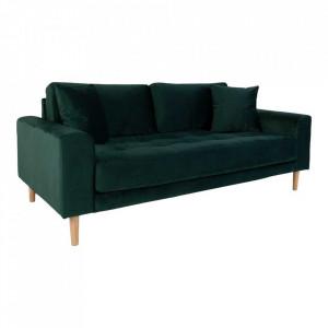 Canapea verde din catifea si lemn pentru 2,5 persoane Lido House Nordic