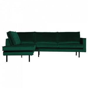 Canapea verde padure din catifea cu colt 266 cm Rodeo Left Be Pure Home