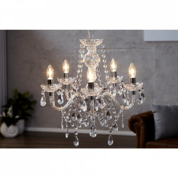 Candelabru transparent din plastic cu 5 becuri Diamonds Invicta Interior
