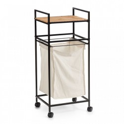 Carucior cu cos negru/maro din metal si lemn Laundry Trolley Bamboo White Zeller