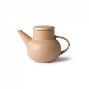 Ceainic maro din ceramica 13 cm Bubble Sand HK Living