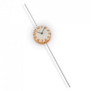 Ceas de masa rotund alb/portocaliu din lemn si metal 20 cm Naranja Versa Home