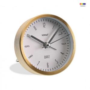 Ceas de masa rotund auriu/alb din aluminiu 9 cm Gold Alarm Versa Home