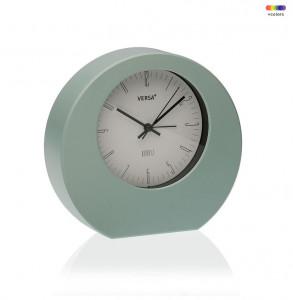Ceas de masa rotund verde/alb din plastic 17x18,2 cm Mint Alarm Clock Versa Home