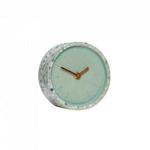 Ceas de masa rotund verde/maro din ciment si alama 13 cm Green Clock Hubsch