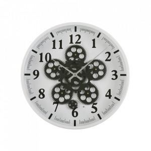 Ceas de perete alb/negru rotund din MDF si metal 36 cm Eros Versa Home