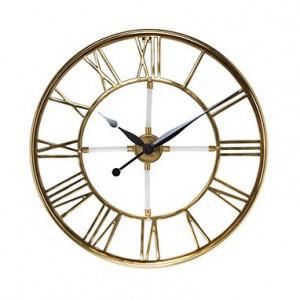 Ceas de perete rotund auriu din inox si aluminiu 60 cm Bryson Richmond Interiors