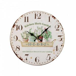 Ceas de perete rotund multicolor din metal 28 cm Herbs Versa Home