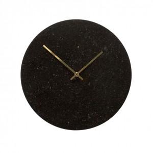 Ceas rotund din marmura neagra Black Hubsch
