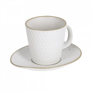 Ceasca cu farfurioara alba din ceramica 220 ml Manami Kave Home