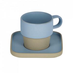 Ceasca cu farfurioara gri/albastra din ceramica 180 ml Midori Kave Home