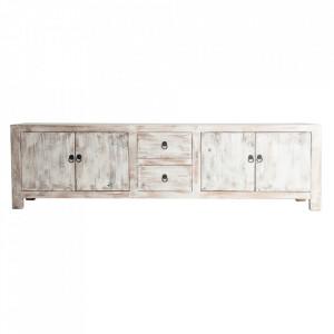 Comoda TV alb antic/maro din lemn de pin 220 cm Lavik Vical Home