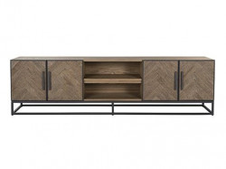 Comoda TV maro/neagra din lemn si metal 220 cm Herringbone Unit Big Richmond Interiors