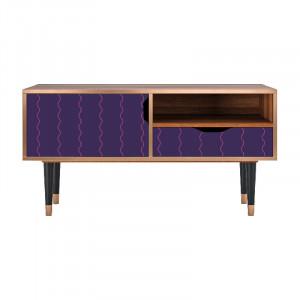 Comoda TV multicolora din MDF si lemn 114,2 cm Grape Maccaroni Sara Furny