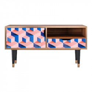 Comoda TV multicolora din MDF si lemn 114,2 cm Pinky Squares Sara Furny