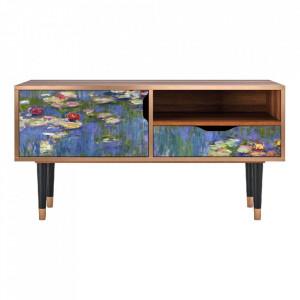 Comoda TV multicolora din MDF si lemn 114,2 cm The Water Lily Pond By Claude Monet Sara Furny