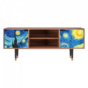 Comoda TV multicolora din MDF si lemn 170 cm The Starry Night By Vincent Van Gogh Lara Furny