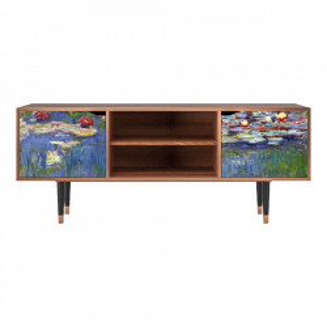 Comoda TV multicolora din MDF si lemn 170 cm The Water Lily Pond By Claude Monet Lara Furny