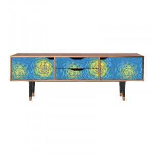 Comoda TV multicolora din MDF si lemn 170 cm Van Gogh Lights Eve Furny