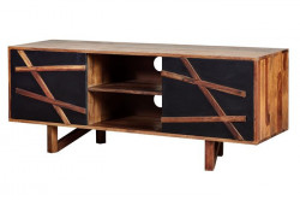 Comoda TV neagra/maro din lemn de palisandru indian 140 cm Kanpur Giner y Colomer