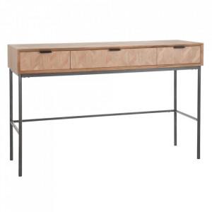 Consola maro/neagra din lemn de frasin si MDF 120 cm Ixelles Ixia