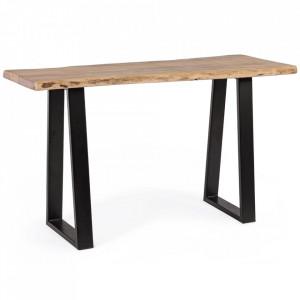 Consola maro/neagra din lemn de salcam si otel 130 cm Artur Bizzotto