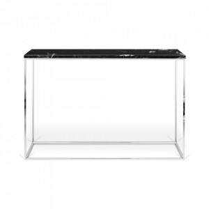 Consola neagra/argintie din marmura si otel 120 cm Gleam TemaHome