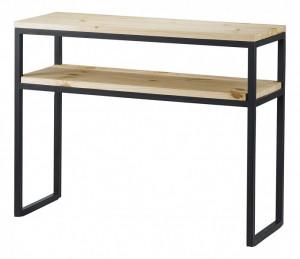 Consola neagra/maro din lemn de pin si metal 100 cm City Zago