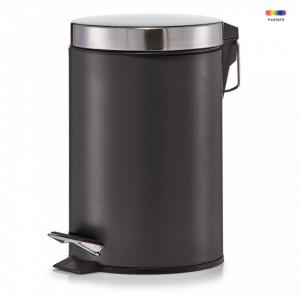 Cos de gunoi negru/gri din metal 3 L Pedal Bin Matt Black Zeller